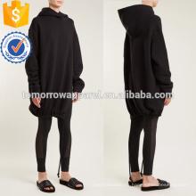Sudadera con capucha negra del lado del lado de la fractura OEM / ODM Fabricación al por mayor de la ropa de las mujeres de la manera (TA7016H)