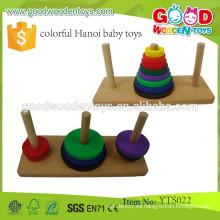 Juguetes de madera educativos Jugar Anillo Juego Juguetes de madera de colores de Hanoi