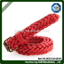 Wholesale Lady Sexy Red Handmade Real Leather Pin Buckle Braided Belt