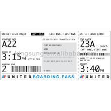 verificação de passagem direta térmica e etiqueta de bagagem