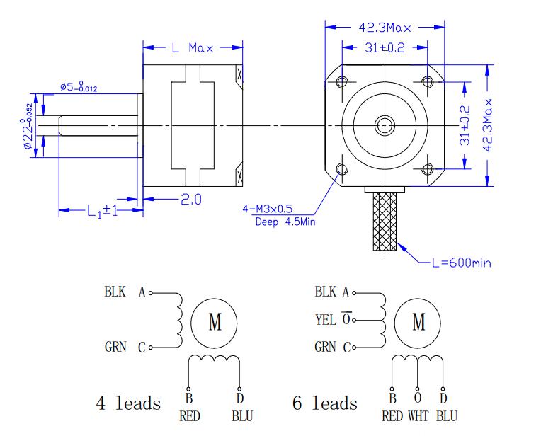 Square flange nema 17 hybrid stepper motor for printers , 12v stepper motor
