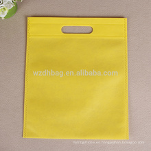 Bolso cortado con tintas no tejido amarillo reutilizable al por mayor respetuoso del medio ambiente en existencia