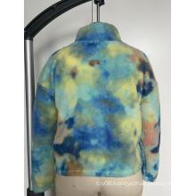 Semi-high collar printed hoodie
