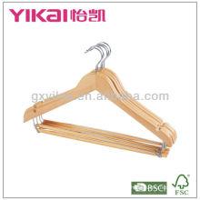 Cabide de madeira com barra redonda