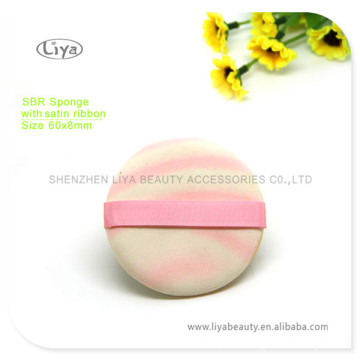SBR Round Sponge Puff With Pink Ribbon