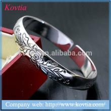 Bracelet en argent massif, bracelet à fleurs ouvertes, bracelets bijoux en mode design de 2015