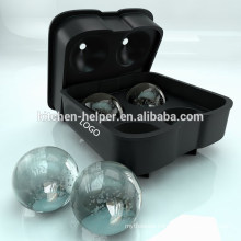 Ice Ball Maker - Novelty Food-Grade Silicone Ice Mold Tray With 4 ball