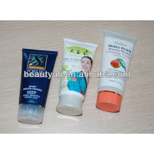 skin whitening cream plastic cosmetic colored tube with stand up plastic cap