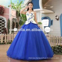 Vestido de noche azul grande elegante del vestido de bola de las ventas calientes Vestido de noche azul del vestido de bola del amor del vestido de boda de Berta