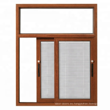 Wanjia último diseño de la casa ventanas correderas con persianas de protección solar en el interior