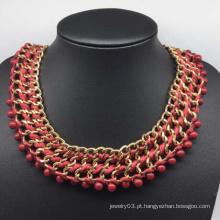 Colar de cadeia grande de diamante vermelho glória (xjw13751)