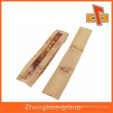Sachet en papier stratifié en sac baguette en matières premières avec gousset latéral