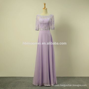 green and purple color short sleeve chiffon long evening dress 2016