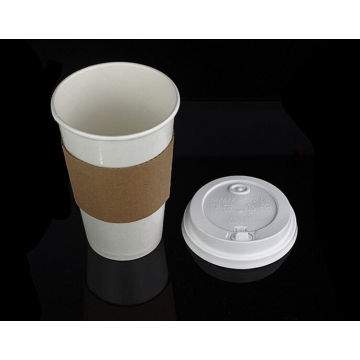Kundenspezifisches Logo druckte Wegwerfhitzebeständige Kräuselungs-Kaffee-Papierschalen-Hülse für 12oz, 16oz Schalen