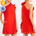 Hot Sale Red One-Shoulder Ruffled Sleeveless Mini Summer Dress Manufacture Wholesale Fashion Women Apparel (TA0298D)