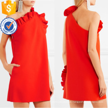 Venda quente vermelho de um ombro babados mangas vestido de verão mini manufatura grosso moda feminina vestuário (t0298d)