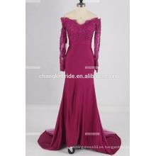 Vestido de noche de satén con cintura vasca con cuentas de bordado sirena vestido de noche