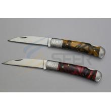 """6.5"""" Acrylic Handle Pocket Knife (SE-128)"""