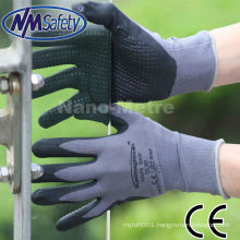 NMSAFETY nitrile foam & rough finish & breathable safety hand gloves