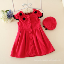 custume kids autumn clothes factory OEM winter children dark pink clothes woolen dresses with hats