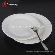 Plato de cena de porcelana blanca al por mayor