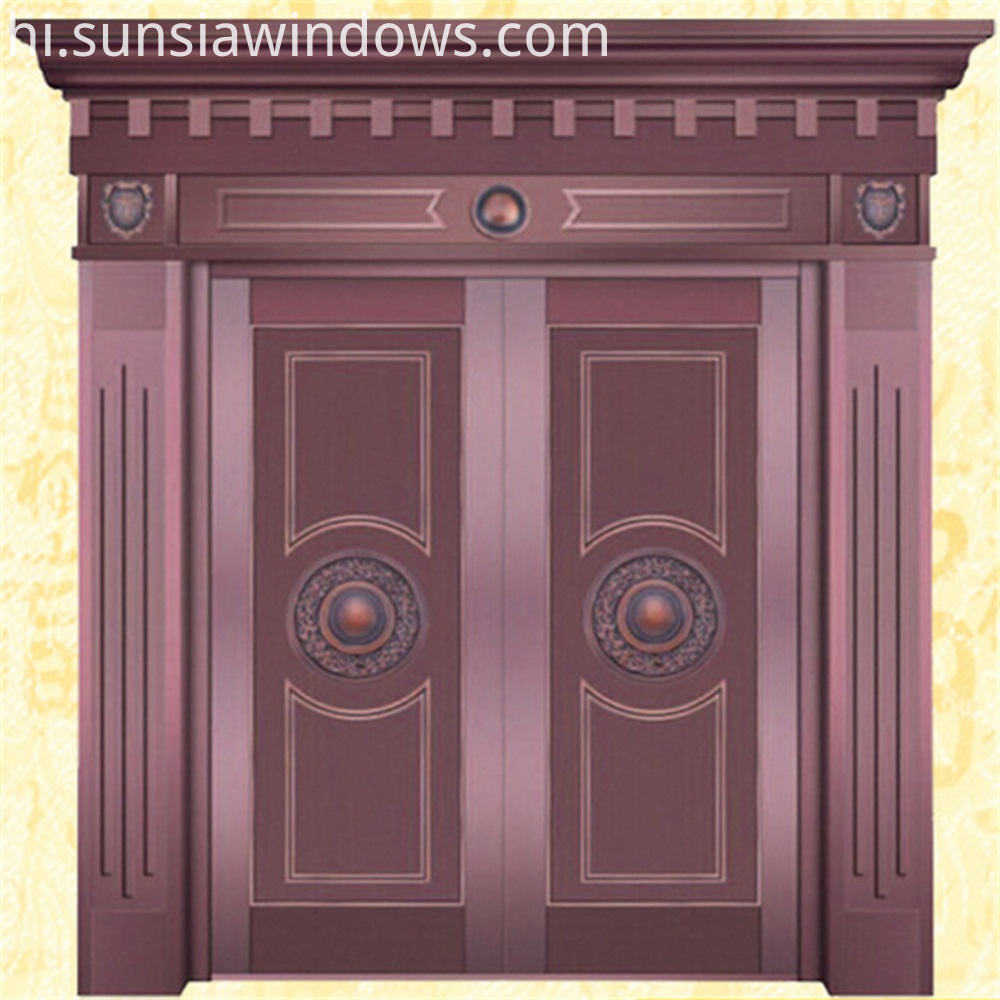 exterior red copper front door