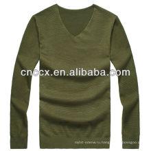 12STC0618 сплошной цвет мужской армия зеленый военный свитер