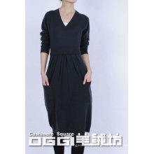 Современное трикотажное чистое кашемировое платьице без рукавов, V-образным вырезом