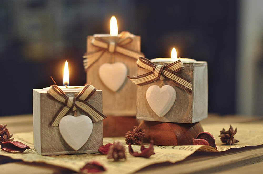 Candle Holder Pillar Heart