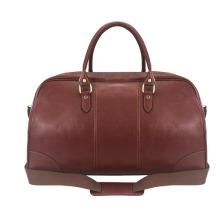 TOURBON bolso de lona de viaje de viaje de fin de semana de cuero genuino marrón marinero