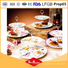 AB Grado de porcelana 2 Plantas capas Firing diseño cerámica Cake Plate placa de cena placa de porcelana