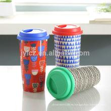 Taza de cerámica de pared doble de 16 oz con tapa de silicona
