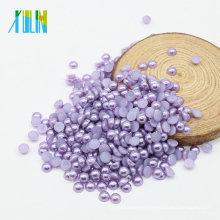Venta caliente de la manera ABS Flat Back Half Cut Pearls Craft Pearls a granel para la fabricación de joyas, Z27-Purple