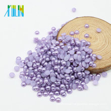 Hot selling Fashion ABS Flat Back Half Cut Pearls Craft Pearls in Bulk for Jewelry Making , Z27-Purple