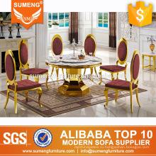 использование золотой нержавеющей стали комплект мебели столовой для продажи