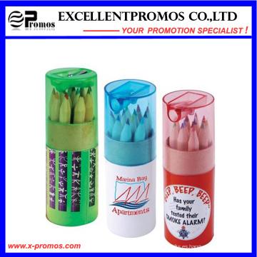 Lápiz de madera de 12PCS Hb en el tubo de papel de Kraft fijado (EP-P9076)
