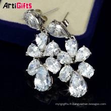 boucle d'oreille usine chine blanc plaqué or bijoux fantaisie boucle d'oreille