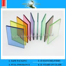3/4/5 / 6mm + 0.38 Transparente PVB + 0.38 Cor PVB + 3/4/5 / 6mm Vidro Laminado de Segurança