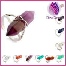 Wholesale Fashion Nature Crystal ring,Multi Colors Hexagon Prism Styles Ring,European Style