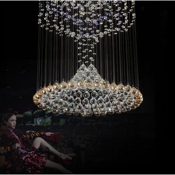 crystal lotus light chandelier glass mosaic lamp
