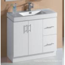 Sanitary Ware White Glossy MDF Bathroom Cabinet with Single Basin (P6011-900G)