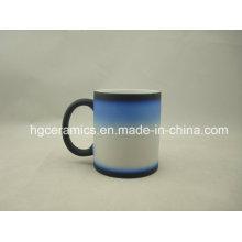 Three -Section Color Change Mug, Black-Blue-White, Color Change Mug, Magic Mug