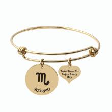 Custom Zodiac Sign Bracelet Stainless Steel Adjustable Bangle Bracelet