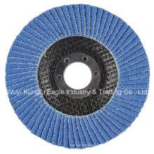 7 '' Zirkonoxid Aluminiumoxid-Flap Abrasive Discs (Glasfaserabdeckung 38 * 15mm 40 #)
