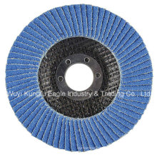 4′′ Zirconia Alumina Oxide Flap Abrasive Discs (fibre glass cover 22*14mm 40#)