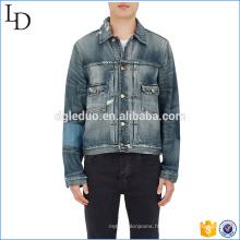 Jeans de moto en pierre sombre gros Chine avec veste en denim classique inégale