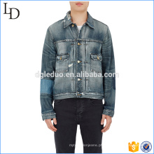 Jeans de bicicleta de pedra escura atacado china com jaqueta de jeans clássico desigual