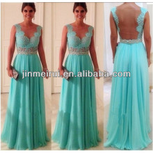New Arrival Fashion Deep V neck Voltar Aberto Beaded See Through Prom Long Chiffon Turquoise Evening Dress