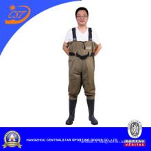 Wader de poitrine de PVC en nylon imperméable à l'eau (7798P)