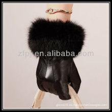 Moda, noble, guante de piel de zorro